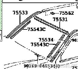 молдинги лобовика на LC105